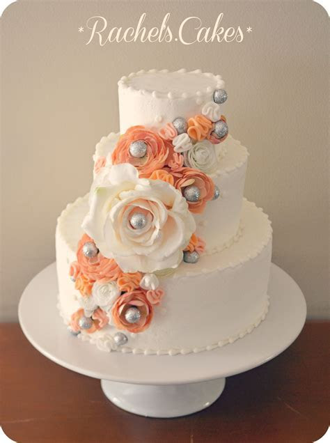 coral and grey wedding cake   My Own Cakes   Coral wedding