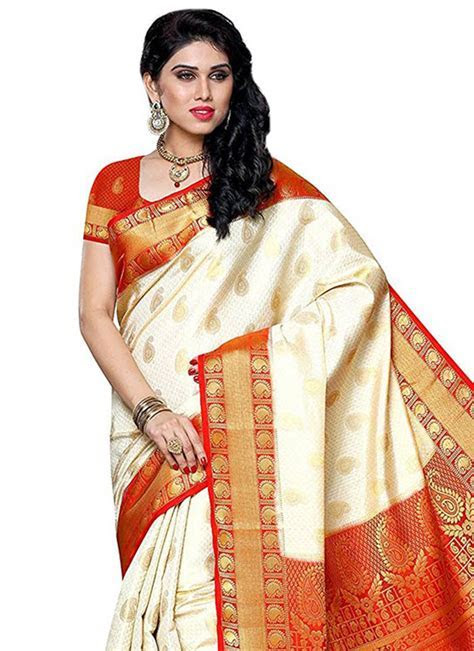 Buy Off White N Red Art Silk Saree, Zari, sari Online