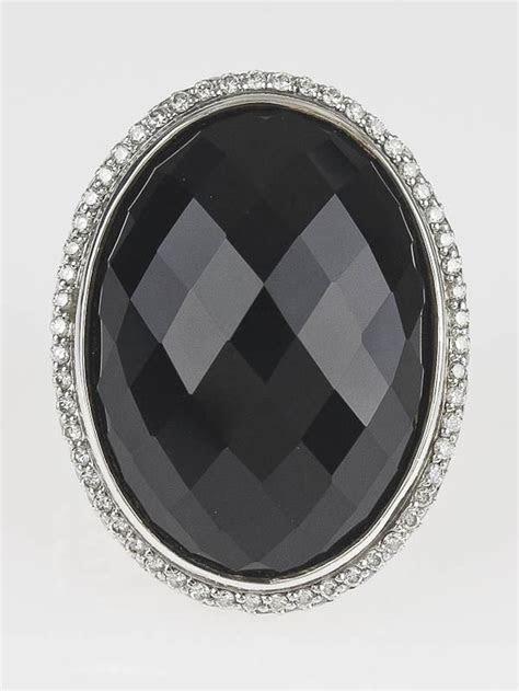 David Yurman Black Onyx and Diamond Signature Large Oval