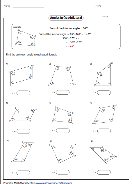 Find Missing Angles In Quadrilaterals - Free Worksheet