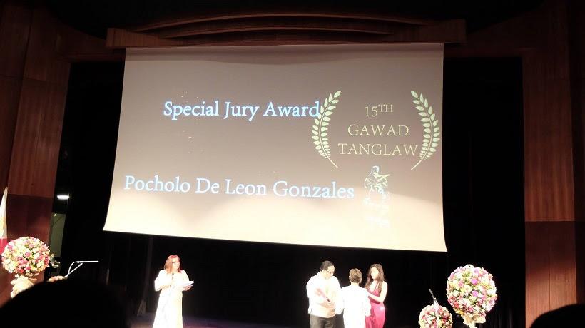 Filipino motivational speaker Pocholo Gonzales receives Special Jury Award at the 15th Gawad Tanglaw Award