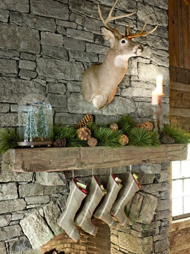 This Tennessee retreat's hearth hosts stockings sewn from linen.