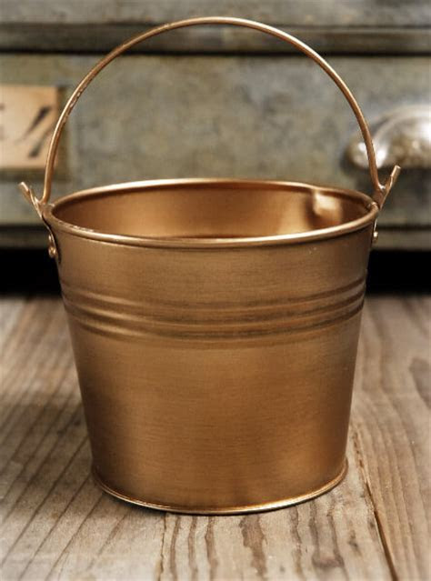 "Antique Brass 4"" Bucket with Handle"