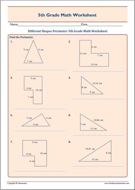 Different Shapes Perimeter 5th Grade Math Worksheet