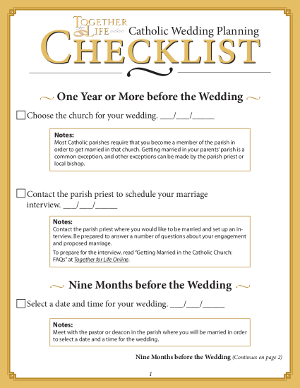 wedding planner: Catholic Wedding Checklist
