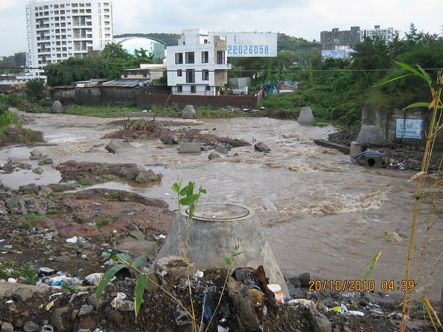 Increased water level after the rains on 20th October 2010 of RamNadi near Rohan Ishan and Anshul Eva at Bavdhan Budruk Pune 411 021