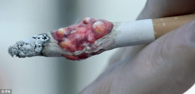 The Department of Health hopes the image of a tumour growing from a cigarette will prompt some of Britain's eight million smokers to quit