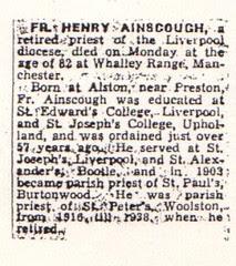 Fr. Henry Ainscough death notice 1864-1946