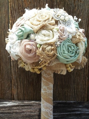 for bridesmaids: alternative to silk flower idea - fabric and burlap flowers with vintage brooches wrapped with burlap and lace