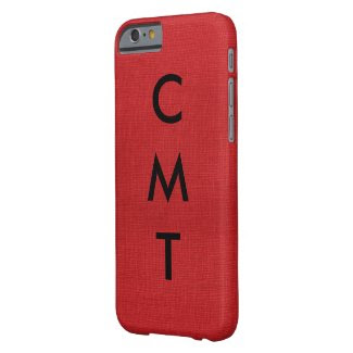 Red Linen Texture Photo with Monogram iPhone 6 Case