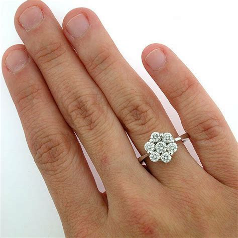 14k White Gold Diamond Flower Cluster Ring 1.27 Carats