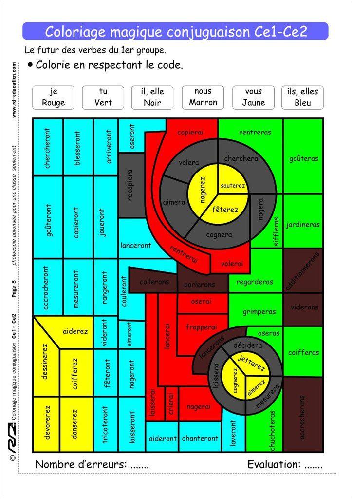 Coloriage Magique Conjugaison Ce1 Ce2 Le Blog De Delphine