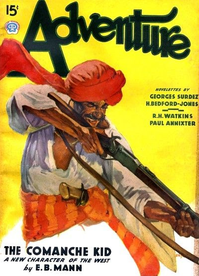 Adventure, January 1937 issue with E.B. Mann story featured on the cover Image courtesy the FictionMags Index