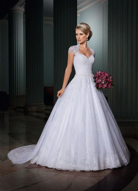 2015 Wedding Dresses with Cap Sleeves Backless Wedding