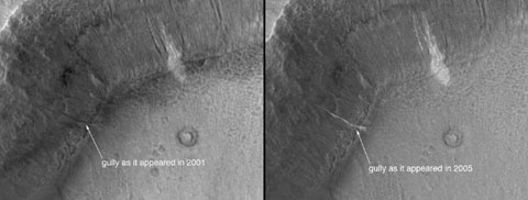 This set of images shows a comparison of the gully site as it appeared on Dec. 22, 2001 (left), with a mosaic of two images acquired after the change occurred (the two images are from Aug. 26, 2005, and Sept. 25, 2005). Sunlight illuminates each scene from the northwest (top left). The 150-meter scale bar represents 164 yards.