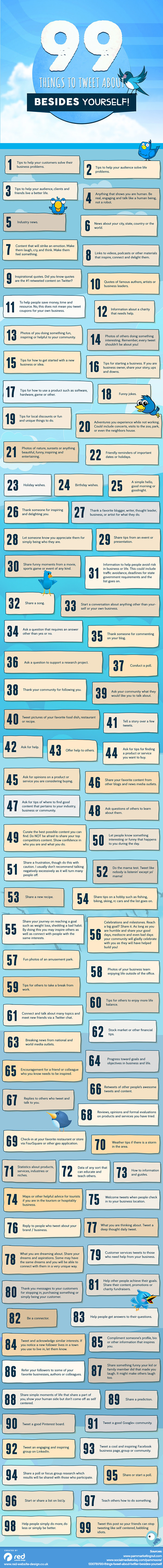 Infographic: 99 Things to Tweet About Besides Yourself