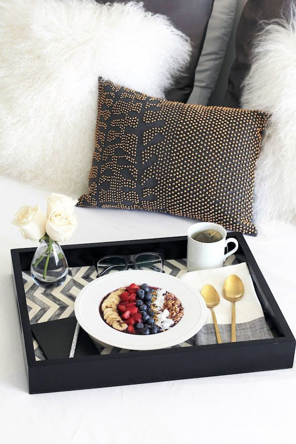 Le Fashion Blog Stylish Breakfast In Bed Chevron Tray Gold Spoons Flatware Linen Napkin Beaded Pillow Mongolian Fur Pillows West Elm Crate Barrel Home Decor Interior Design Simon Malls By Jenn Camp