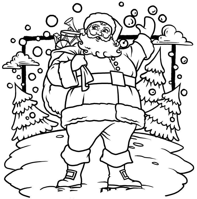 christmas santa claus coloring pages free printable - 735×743