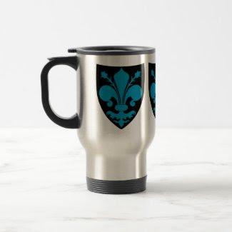 Blue fleur de lys on black shield punk mug