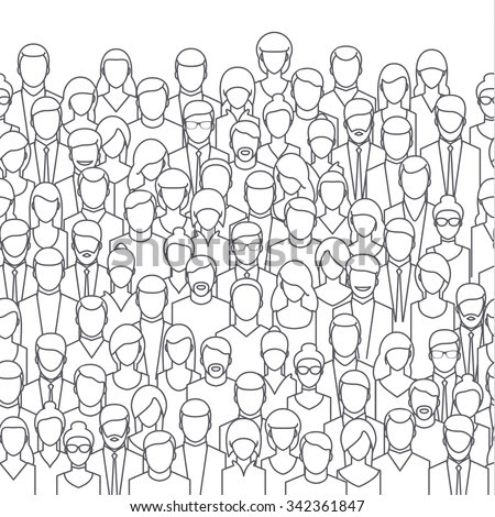 stock vector the crowd of abstract people line style flat design vector illustration 342361847