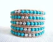 Turquoise Silver Mix Leather Wrap Beaded Bracelet