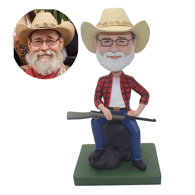 Custom Bobblehead Cowboy With A Gun, Personalized Fathers Day Gifts