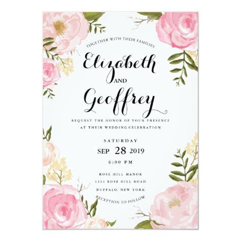 Modern Vintage Pink Floral Wedding Invitation   Zazzle.co.uk