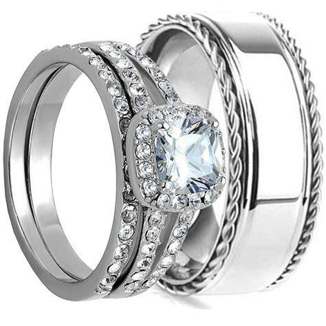 3pcs HIS HERS WEDDING RING SET MATCHING BAND MENS and