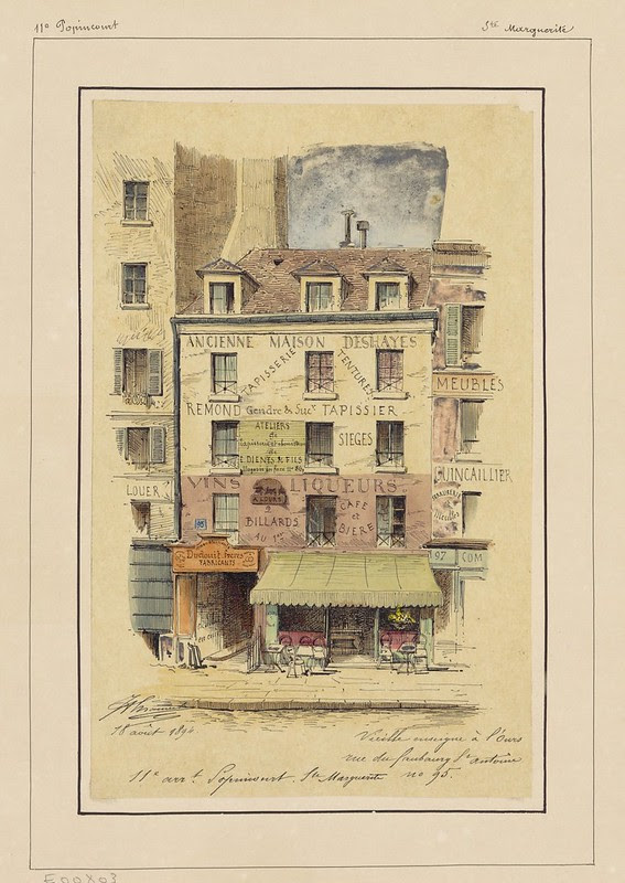 watercolour & pen sketch of 19th century Parisian commercial building