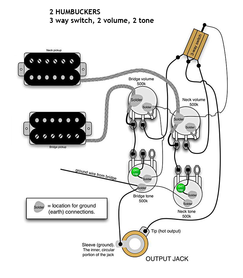 Secret Diagram  Download Wiring Diagram 2 Humbuckers 1 Volume 1 Tone 3 Way Switch