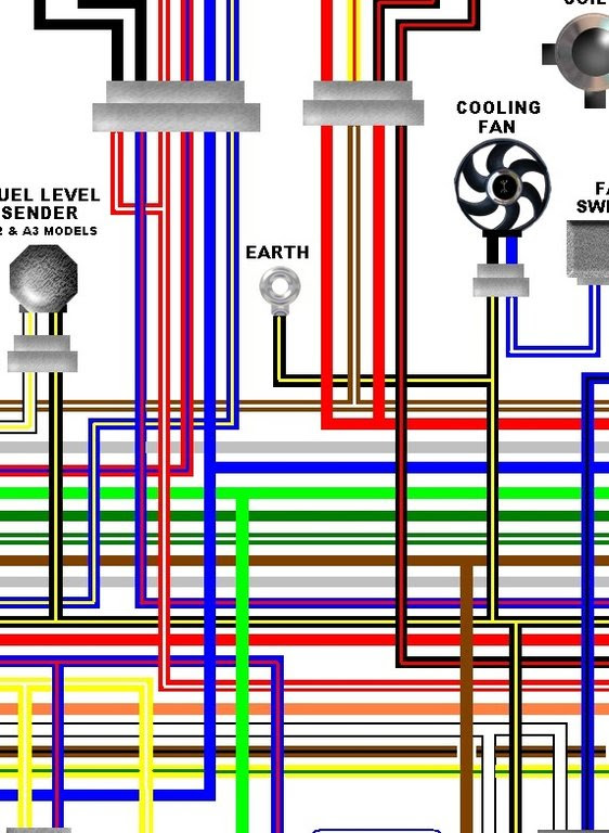 Kawasaki ER500A 1997 - 99 ER5 Colour Electrical Wiring Diagram