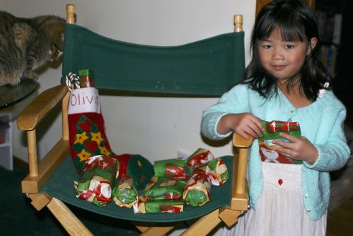 Olivia with Christmas Stocking