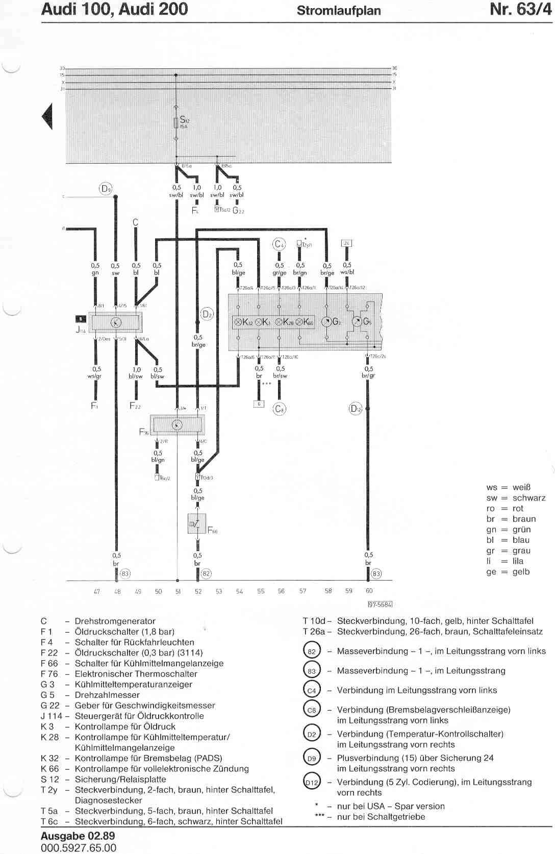 Schaltplan Audi 100 Typ 44