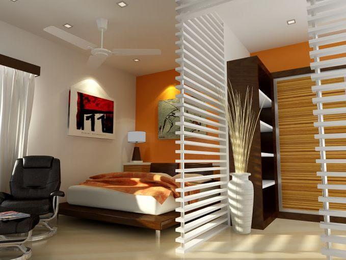 Jika ingin membagi-bagi ruangan dikamar, kamu juga bisa membuat sekat terbuka seperti ini.
