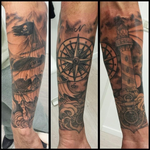 Compass Tattoo On Full Sleeve