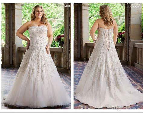 Discount Luxury Beaded Lace Plus Size Wedding Dresses 2016