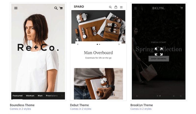 Shopify ecommerce websites preview