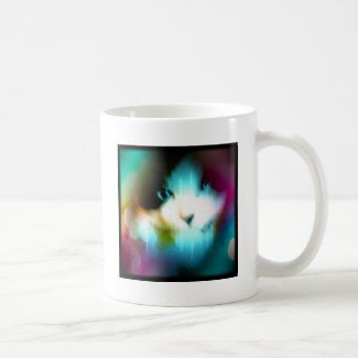 snowshoe rainbow kitty classic white coffee mug