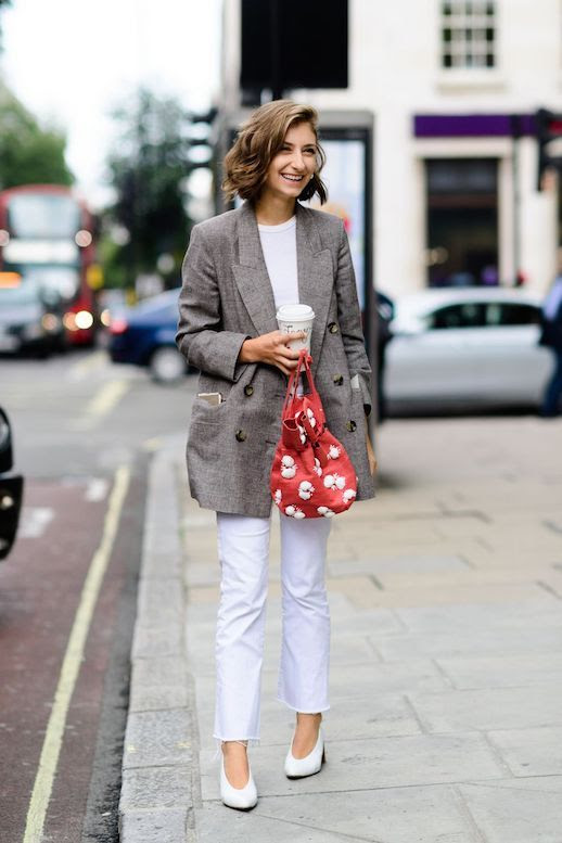 Le Fashion Blog Street Style Tweed Blazer White T Shirt White Raw Hem Jeans White Block Heel Shoes Via Elle