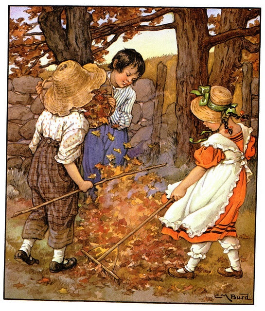 raking the leaves- great print  IDEA:  cover some books with brown paper.  Print off this print and divide it up into strips for the book spines to recreate the scene when the book spines are aligned