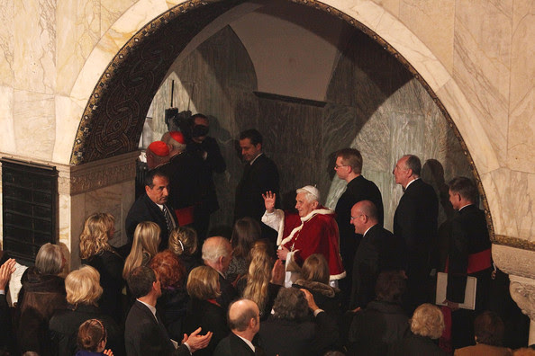 Pope Benedict XVI greets the Lutheran community during  his visit to the Lutheran Church of Rome on March 14, 2010 in Vatican City, Vatican. Benedict spoke about the importance of relationships between the different Christian churches.