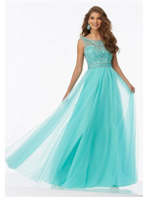 Affordable Long Tulle Beaded Prom Dresses 5604006