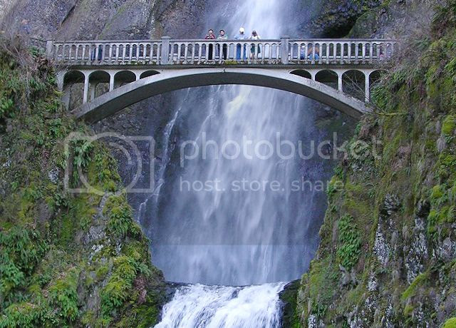 A Bridge over Multnomah Falls on the Columbia River