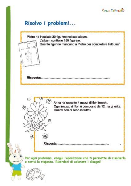 Problemi semplici di matematica per la terza elementare
