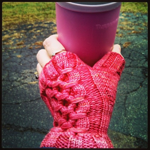 Day 6 #yarnpadc Mittens/Gloves LOVE my #SmockedGauntlets #fingerlessmitts #knitstagram #knitting
