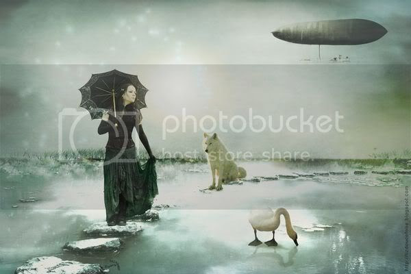 femme cygne swan louve loup blanc long cheveux noir woman long black hair parasol wolf dirigeable zeppelin steampunk photomanipulation photomontage