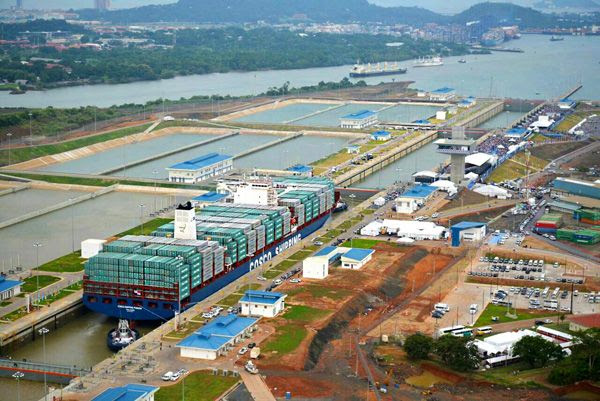 The COSCO Shipping Panama is the first cargo ship to officially pass through the Panama Canal's new set of locks...on June 26, 2016.