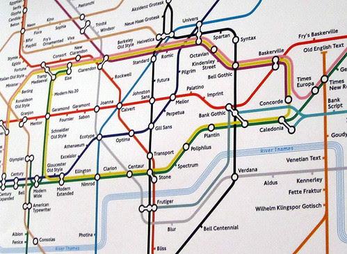 Detail of Typographic Tube Map by Eiichi Kono