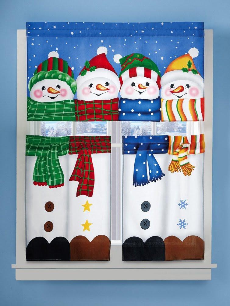 Winter Pals Snowman Christmas Curtain Set
