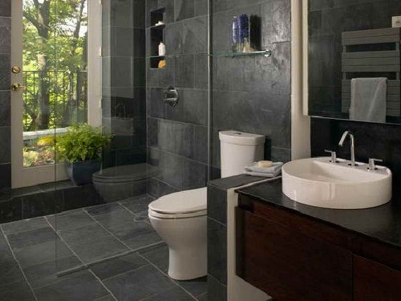 Gorgeous Black Stone Small Bathroom | Bill House Plans
